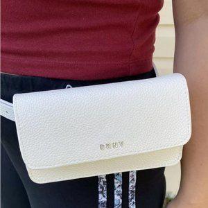 DKNY White Faux Pebble Leather Belt Bag Fanny Bag
